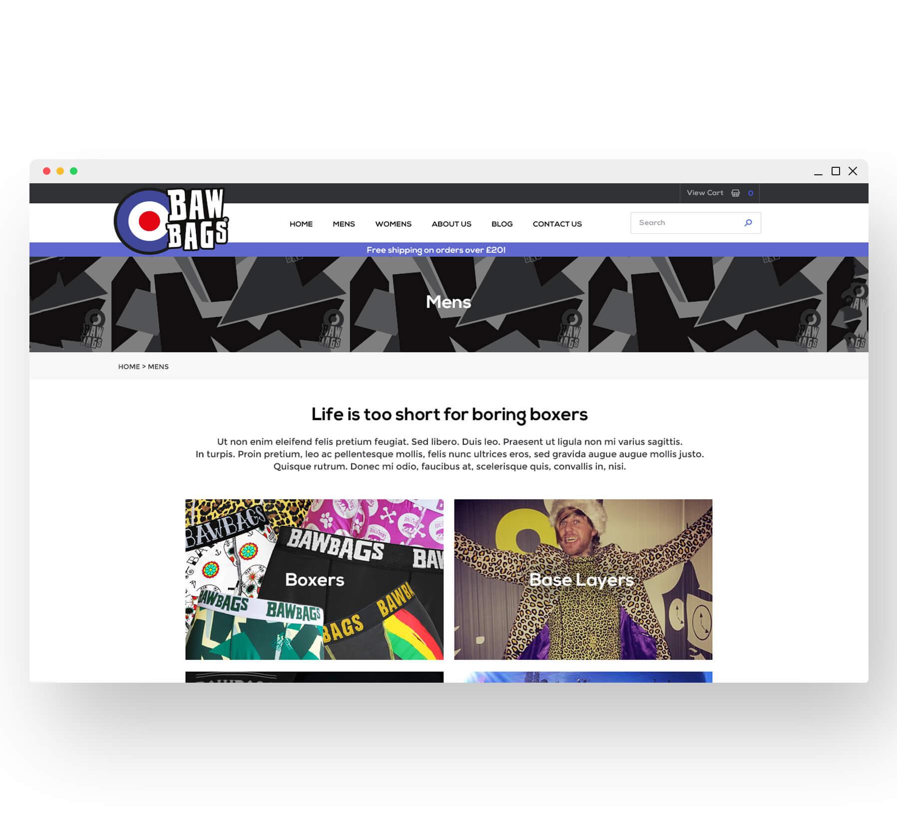 Bawbags Website Desktop Design Category Landing Page