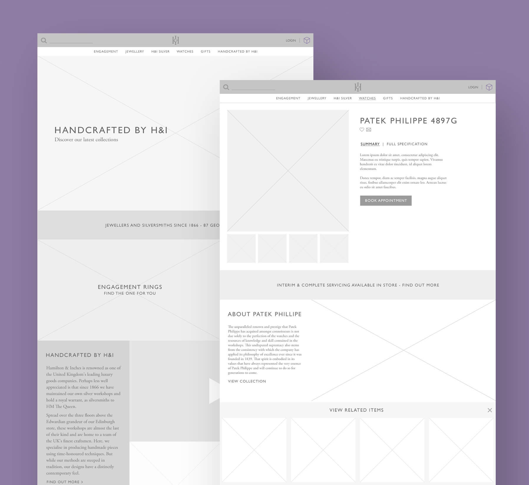Hamilton and Inches Website Wireframes