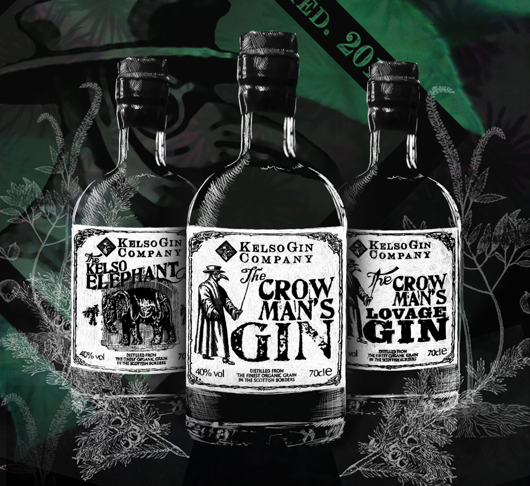Kelso Gin Company core range illustration
