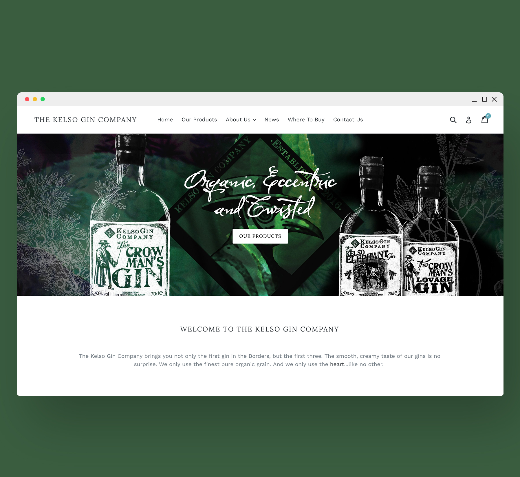 Kelso Gin Company Website