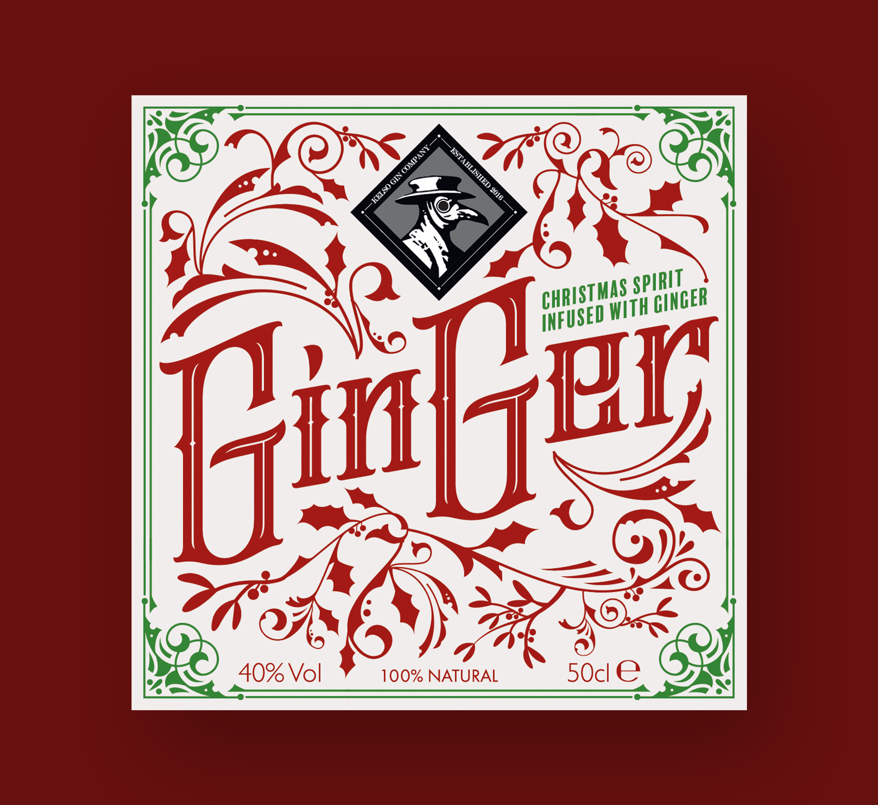 Kelso Gin Company Ginger Spirit Label