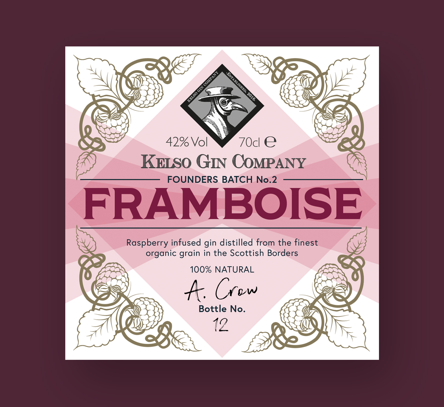 Kelso Gin Company Framboise Gin Label