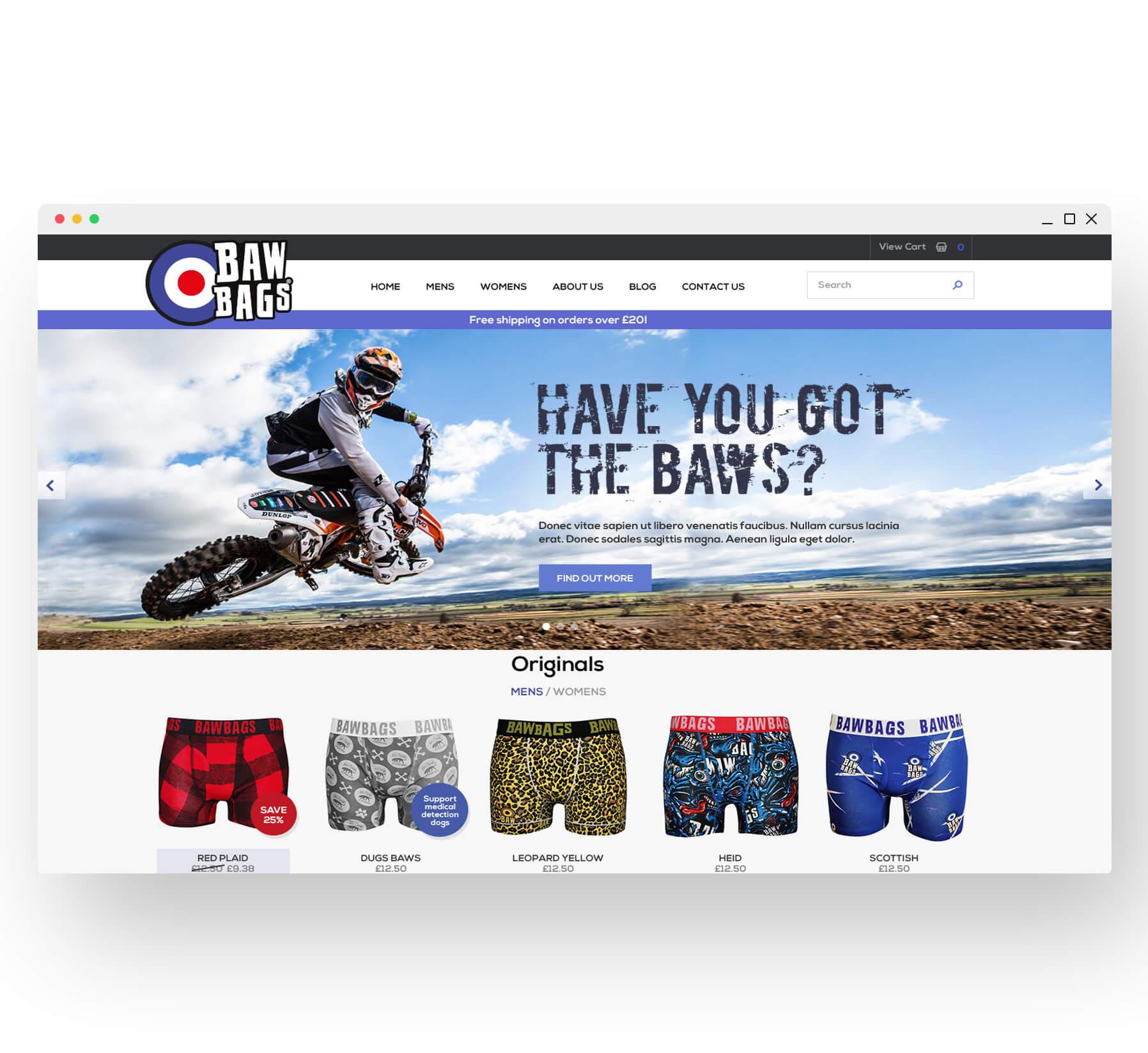 Bawbags desktop website design